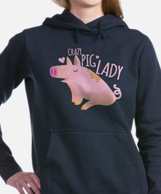 Crazy Pig Lady Women's Hooded Sweatshirt