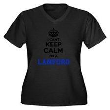 Cute Lanford Women's Plus Size V-Neck Dark T-Shirt