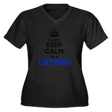 Layne Women's Plus Size V-Neck Dark T-Shirt