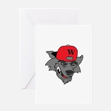 SMALL WOLF MASCOT Greeting Cards