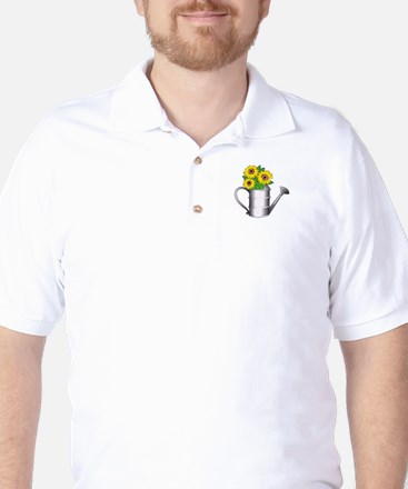 FLOWERS IN WATERING CAN Golf Shirt