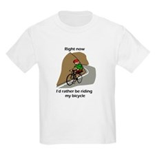 right now riding bicycle Kids T-Shirt