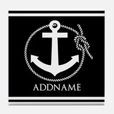Black and White Nautical Anchor Perso Tile Coaster