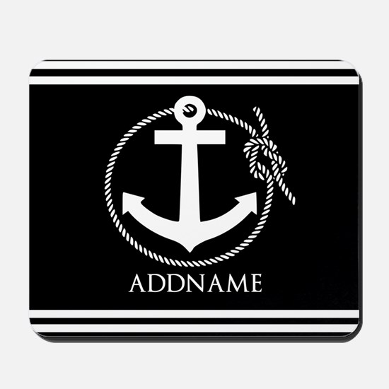 Black and White Nautical Anchor Personal Mousepad