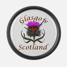 Glasgow Scotland thistle Large Wall Clock