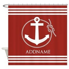 Brown and White Anchor Personalized Shower Curtain