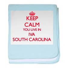 Keep calm you live in Iva South Carol baby blanket