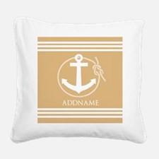 Burly Wood Rope Anchor Person Square Canvas Pillow