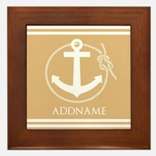 Burly Wood Rope Anchor Personalized Framed Tile