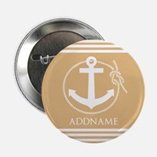 """Burly Wood Rope Anchor Personalized 2.25"""" Button"""