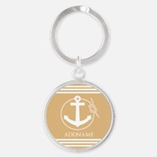 Burly Wood Rope Anchor Personalized Round Keychain