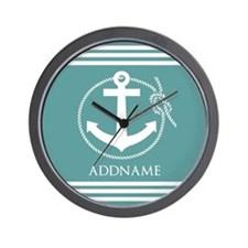 Cadet Blue Rope Anchor Personalized Wall Clock