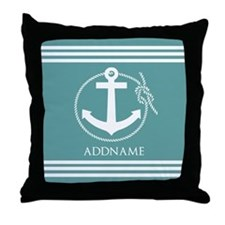 Cadet Blue Rope Anchor Personalized Throw Pillow