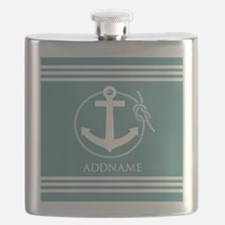 Cadet Blue Rope Anchor Personalized Flask