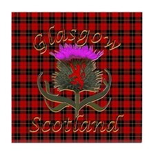 Glasgow Scotland Red Tartan Thistle Tile Coaster