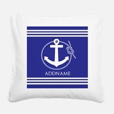 Blue Nautical Rope and Anchor Square Canvas Pillow