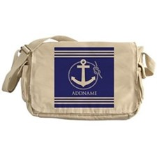 Blue Nautical Rope and Anchor Person Messenger Bag
