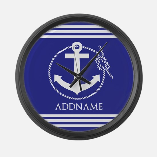 Blue Nautical Rope and Anchor Per Large Wall Clock