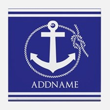 Blue Nautical Rope and Anchor Persona Tile Coaster