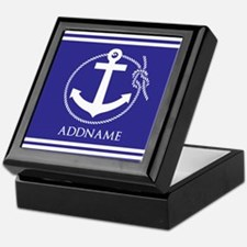 Blue Nautical Rope and Anchor Persona Keepsake Box