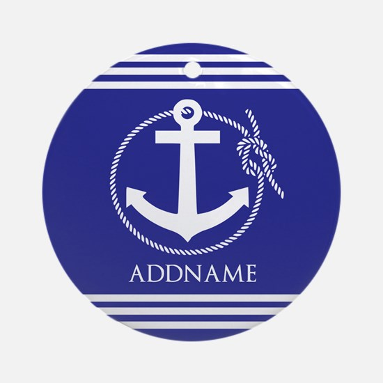 Blue Nautical Rope and Anchor Per Ornament (Round)