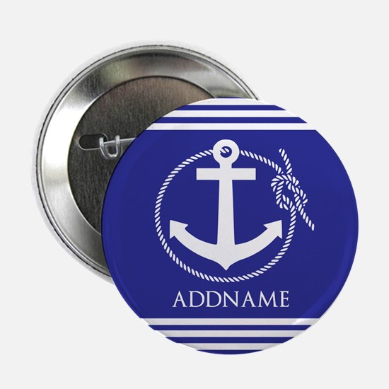 """Blue Nautical Rope and Anchor Persona 2.25"""" Button"""