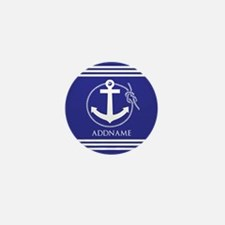 Blue Nautical Rope and Anchor Personal Mini Button