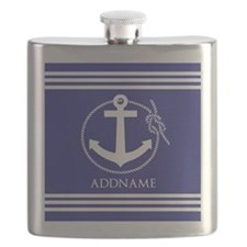 Blue Nautical Rope and Anchor Personalized Flask