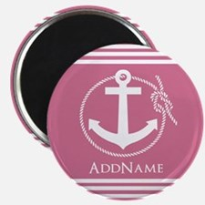 Pale Violet Red Nautical Rope and Anchor Magnet