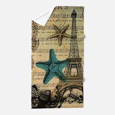 vintage paris eiffel tower starfish fa Beach Towel