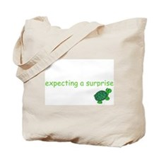 """Tote Bag """"Expecting a surprise"""" (green turtle)"""