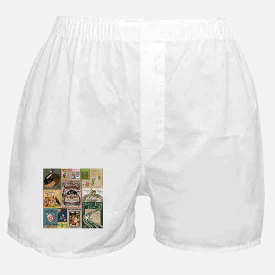 Vintage Book Cover Illustrations Boxer Shorts