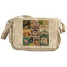 Vintage Book Cover Illustrations Messenger Bag