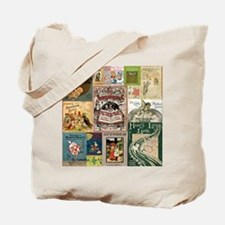 Vintage Book Cover Illustrations Tote Bag