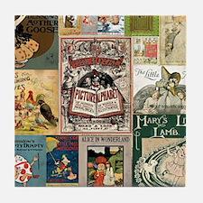 Vintage Book Cover Illustrations Tile Coaster