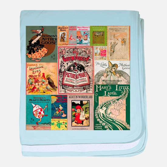 Vintage Book Cover Illustrations baby blanket
