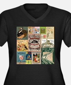 Vintage Book Cover Illustrations Plus Size T-Shirt