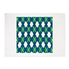 Yellow Blue Green Large Argyle Pattern 5'x7'Area R