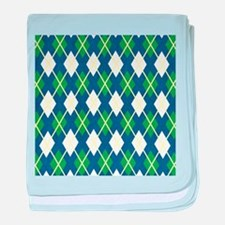 Yellow Blue Green Large Argyle Pattern baby blanke