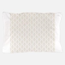 Beige White Damask Pillow Case