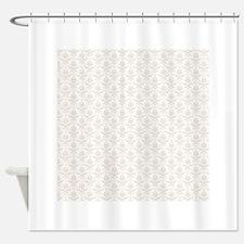 Beige White Damask Shower Curtain