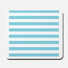 Blue White Large Bold Stripes Mousepad