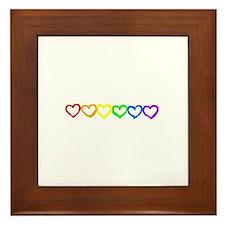 Rainbow of hearts Framed Tile