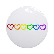 Rainbow of hearts Ornament (Round)