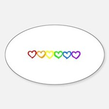 Rainbow of hearts Oval Bumper Stickers