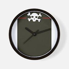 Black Red Stripe Pirate Skull Wall Clock