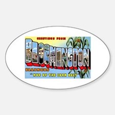 Bloomington Illinois Greetings Oval Decal