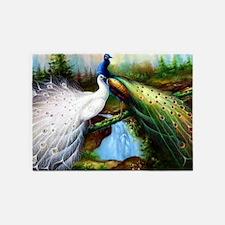 Two Peacocks 5'x7'Area Rug