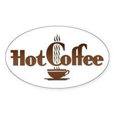 Hot Coffee Oval Stickers