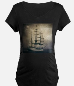 vintage pirate ship landscape Maternity T-Shirt